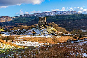 Dolwyddelan Castle, mountain fortress remains, near Dolwyddelan, Snowdonia National Park, North Wales, UK. December 2017.  -  Alan  Williams