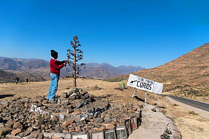 Artist selling curios at  the pass near Roma, Lesotho. August 2017  -  Rhonda Klevansky