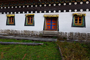 The local temple with decorated windows, Lower Yubeng village, Meili Snow Mountain, National park, Yunnan, China, October 2017.  -  Staffan Widstrand / Wild Wonders of China