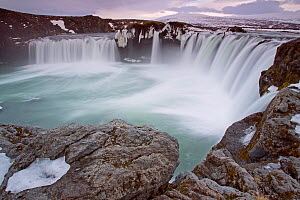 Godafoss Waterfall,  12 meter drop over a width of 30 meters, Myvatn, Iceland, February.  -  David Allemand