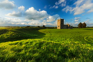Neolithic earthworks and Knowlton Church, Dorset, England, UK. May 2014. - Guy Edwardes