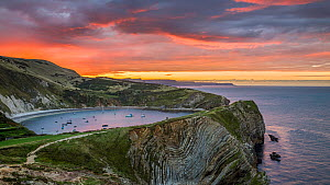Lulworth Cove and Stair Hole at sunrise, West Lulworth, Dorset, England, UK. September 2015. - Guy Edwardes