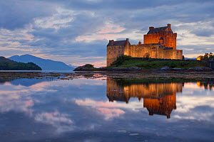 View across Loch Duich to Eilean Donan Castle, Kyle of Lochalsh, Highlands, Scotland, Uk. July 2012. - Guy Edwardes