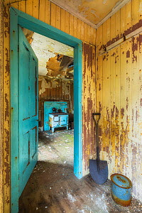 Doorway in abandoned cottage, Isle of Harris, Outer Hebrides, Scotland, UK. March 2014. - Guy Edwardes