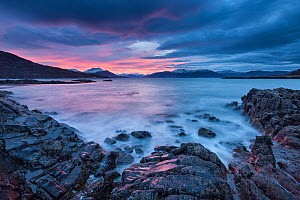 Sleat Peninsula and Sound of Sleat, Loch na Dal, Isle of Skye, Inner Hebrides, Scotland, UK. January 2014. - Guy Edwardes