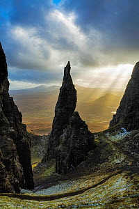 The Needle, Quiraing, Trotternish Peninsula, Isle of Skye, Inner Hebrides, Scotland, UK. January 2015.  -  Guy Edwardes