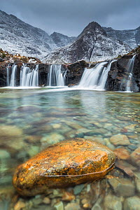 Fairy Pools with Cuillin range in background, Glen Brittle, Isle of Skye, Inner Hebrides, Scotland, UK. January 2015.  -  Guy Edwardes