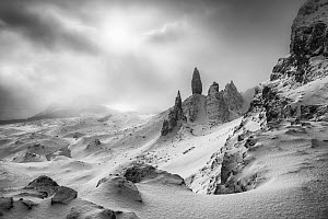 The Old Man of Storr in winter, Trotternish Peninsula, Isle of Skye, Inner Hebride, Scotland, UK. January 2015. - Guy Edwardes