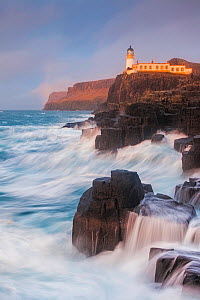 Neist Point Lighthouse, Duirinish Peninsula, Isle of Skye, Inner Hebrides, Scotland, UK. January 2014.  -  Guy Edwardes