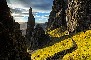 Footpath past The Needle, Quiraing, Trotternish Peninsula, Isle of Skye, Inner Hebrides, Scotland, UK. January 2014.  -  Guy Edwardes