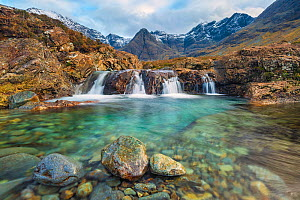 Fairy Pools with Black Cuillin mountains in background, Isle of Skye, Inner Hebrides, Scotland, UK. January 2014.  -  Guy Edwardes