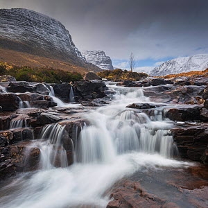 Waterfall on Russel Burn, Applecross, Highlands, Scotland, UK. February 2016. - Guy Edwardes