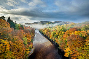 River Garry and Pass of Killiecrankie from Garry Bridge, Perthshire, Scotland, UK. October, 2013.  -  Guy Edwardes