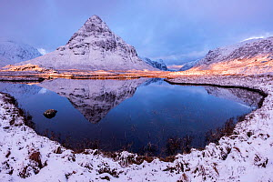 Buachaille Etive Beag reflected in Lochan na Fola after snowfall, early morning light, Glencoe, Scotland, UK. February 2017.  -  Ross Hoddinott
