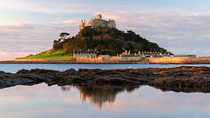 St Michael's Mount reflected at sunrise, Marazion, West Cornwall, UK. October 2017. - Ross Hoddinott