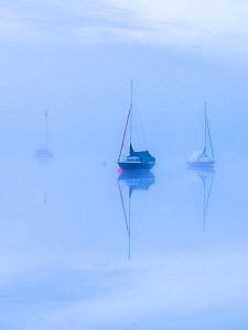 Sailing boats and reflections in the mist, Wimbleball Reservoir, Exmoor National Park, Somerset, UK. May 2017. - Ross Hoddinott