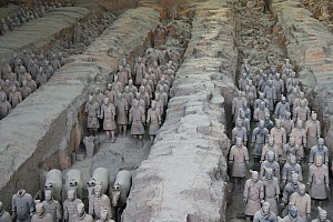 Part of the 'Terracotta Army', showing how they were buried and found in Xian, Shaanxi, China, April 2018.  -  Staffan Widstrand / Wild Wonders of China