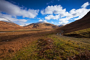 Footpath in Glen Cammel with the River Cammel and the mountains of Beinn Bheag, Beinn Talaidh and Beinn Chaisgidle beyond. Near Loch Ba, Isle of Mull, Argyll and Bute, Scotland, March 2017 - Mike Read