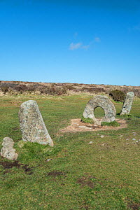 Men-an-Tol, Neolithic or Bronze age monument. Cornwall, England, UK. March, 2018.  -  Adrian Davies