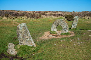 Men-an-Tol,  Neolithic or Bronze age monument, Cornwall, England, UK. March 2018. - Adrian Davies