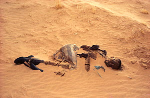 Toubou man, dead from thirst, partially covered in sand dune. Sahara, Niger, Tenere  -  Alain Dragesco-Joffe