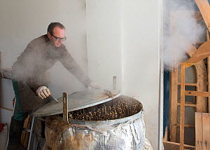 Benoit Dudognon, master paper maker, steaming branches of Paper mulberry (Broussonetia papyrifera) before removing bark. Part of process of making Japanese washi paper. Camargue, France. January. - Jean E. Roche