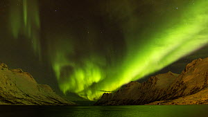Timelapse of the Aurora Borealis over a fjord, Troms, Norway, March 2016. (This image may be licensed either as rights managed or royalty free.) - Gavin Hellier