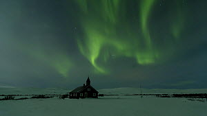 Timelapse of the Aurora Borealis over a church, Troms, Norway, March 2016. (This image may be licensed either as rights managed or royalty free.) - Gavin Hellier