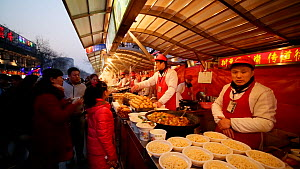Street food vendor, Donghuamen Night Market, Wangfujing, Dongcheng District, Beijing, China, February 2015. (This image may be licensed either as rights managed or royalty free.)  -  Gavin Hellier