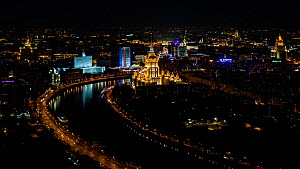 Elevated timelapse of the Ukraine Hotel and the Russian White House at night, Moscow, Russia, May 2016. Hellier  -  Gavin Hellier