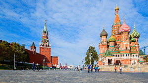 Timelapse of tourists visiting Red Square, Saint Basil's Cathedral and the Kremlin, Moscow, Russia, May 2016. (This image may be licensed either as rights managed or royalty free.) - Gavin Hellier