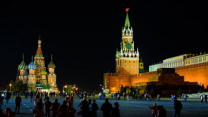 Timelapse of tourists visiting Red Square, Saint Basil's Cathedral and the Kremlin at night, Moscow, Russia, May 2016. (This image may be licensed either as rights managed or royalty free.) - Gavin Hellier