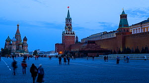 Timelapse from day to night of Saint Basil's Cathedral, Red Square and the Kremlin, Moscow, Russia, May 2016. (This image may be licensed either as rights managed or royalty free.) - Gavin Hellier