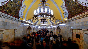 Timelapse of commuters in Moscow's Komsomolskaya metro station, showing vaulted ceiling and chandeliers, Russia, May 2016. (This image may be licensed either as rights managed or royalty free.)  -  Gavin Hellier