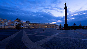 Timelapse from day to night panning across Palace Square, RussiaMay 2016. (This image may be licensed either as rights managed or royalty free.) - Gavin Hellier