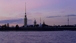 Timelapse from day to night looking towards the Peter and Paul Fortress, St, Petersburg, Russia, May 2016. (This image may be licensed either as rights managed or royalty free.) - Gavin Hellier