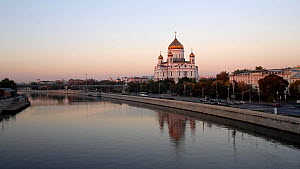 View of the Cathedral of Christ the Saviour from the Bolshoy Kamenny Bridge over the Moskva River, Moscow, Russia, May 2016. (This image may be licensed either as rights managed or royalty free.) - Gavin Hellier