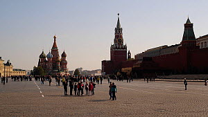 View of Saint Basil's Cathedral, Red Square and the Kremlin, Moscow, Russia, May 2016. (This image may be licensed either as rights managed or royalty free.) - Gavin Hellier