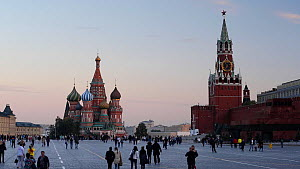View of Saint Basil's Cathedral, Red Square and the Kremlin at dusk, Moscow, Russia, May 2016. (This image may be licensed either as rights managed or royalty free.) - Gavin Hellier