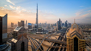Wide angle timelapse of the Dubai Interchange, with the Burj Khalifa in the background, Dubai, United Arab Emirates, January 2017. (This image may be licensed either as rights managed or royalty free....  -  Gavin Hellier