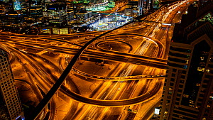 Timelapse of traffic at night on the Dubai Interchange, Dubai, United Arab Emirates, January 2017. Hellier  -  Gavin Hellier