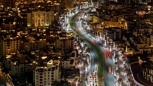 Timelapse of traffic at night, Dubai, United Arab EmiratesJanuary 2017. (This image may be licensed either as rights managed or royalty free.) - Gavin Hellier