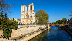 Timelapse of boats on the River Seine, next to Notre Dame, Paris, France, May 2016. (This image may be licensed either as rights managed or royalty free.) - Gavin Hellier