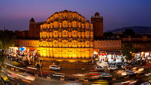 Timelapse of traffic moving past the Hawa Mahal, (Palace of the Winds) at night, Jaipur, Rajasthan, India, January 2018. (This image may be licensed either as rights managed or royalty free.) - Gavin Hellier