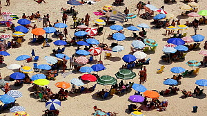 People sunbathing on Copacabana beach, Rio de Janeiro, Brazil, September 2016. (This image may be licensed either as rights managed or royalty free.) - Gavin Hellier