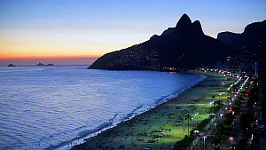 Sunset over Ipanema Beach and Dois Irmaos (Two Brothers) mountain, Rio de Janeiro, Brazil, South AmericaSeptember 2016. Hellier  -  Gavin Hellier