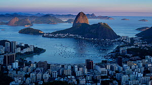 Timelapse from day to night looking over Botafogo bay, with Pao de Acucar or Sugarloaf mountain in the background, Rio de Janeiro, Brazil, South America - 4K time lapseSeptember 2016. (This image may... - Gavin Hellier