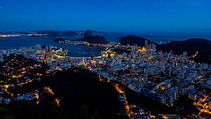 Timelapse from day to night looking over Botafogo bay, with Pao Acucar or Sugar Loaf mountain in the background, Rio de Janeiro, Brazil, South America - 4K time lapseSeptember 2016. Hellier  -  Gavin Hellier