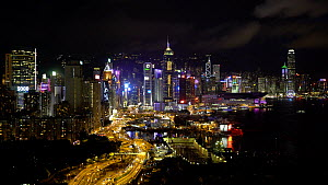 Elevated view of Hong Kong Central district at night, Hong Kong Island, China, June 2017. (This image may be licensed either as rights managed or royalty free.)  -  Gavin Hellier