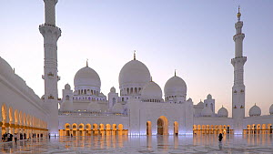 Panning shot from behind a pillar to reveal a woman walking towards Sheikh Zayed Grand Mosque, Abu Dhabi, United Arab Emirates, December 2017. (This image may be licensed either as rights managed or r... - Gavin Hellier